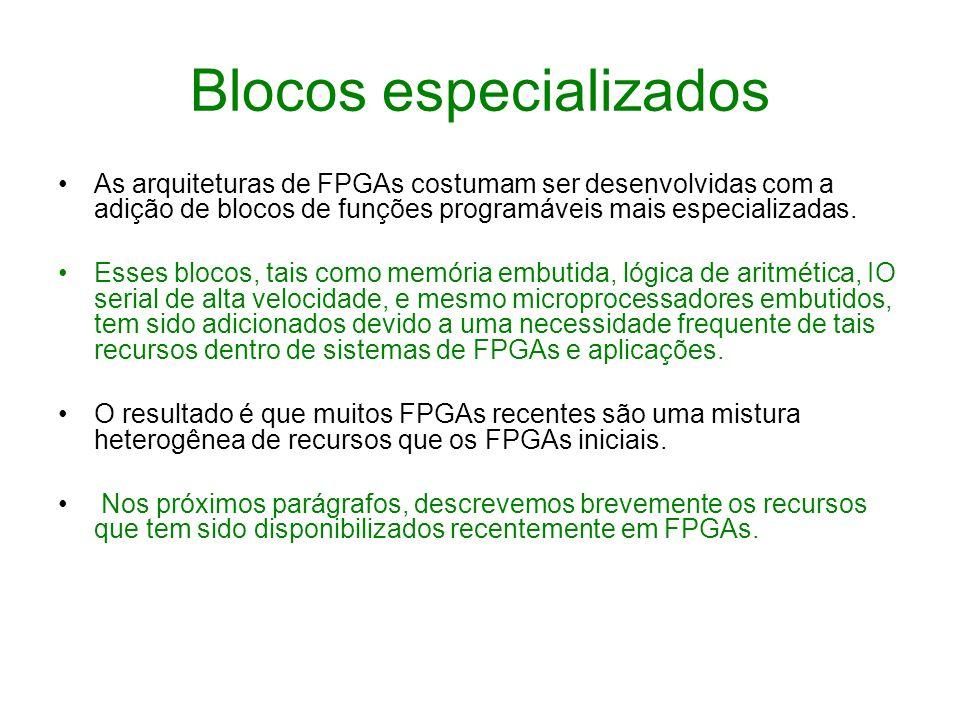 Blocos especializados As arquiteturas de FPGAs costumam ser desenvolvidas com a adição de blocos de funções programáveis mais especializadas. Esses bl