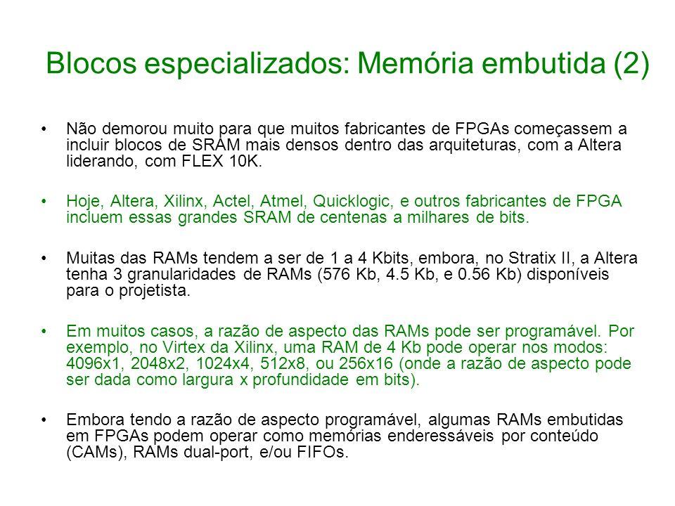Blocos especializados: Memória embutida (2) Não demorou muito para que muitos fabricantes de FPGAs começassem a incluir blocos de SRAM mais densos den