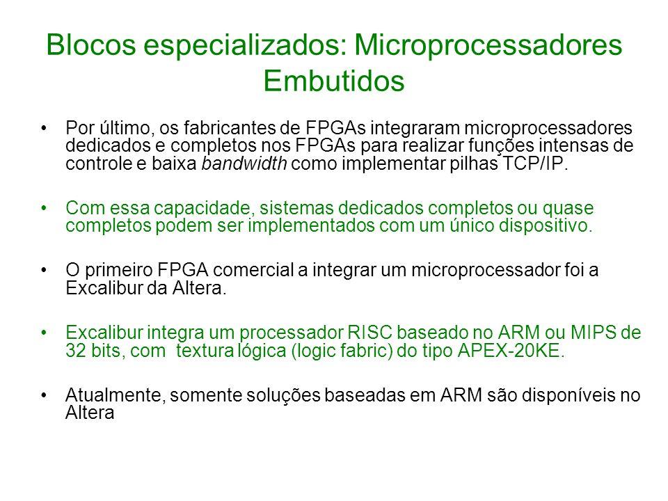 Blocos especializados: Microprocessadores Embutidos Por último, os fabricantes de FPGAs integraram microprocessadores dedicados e completos nos FPGAs