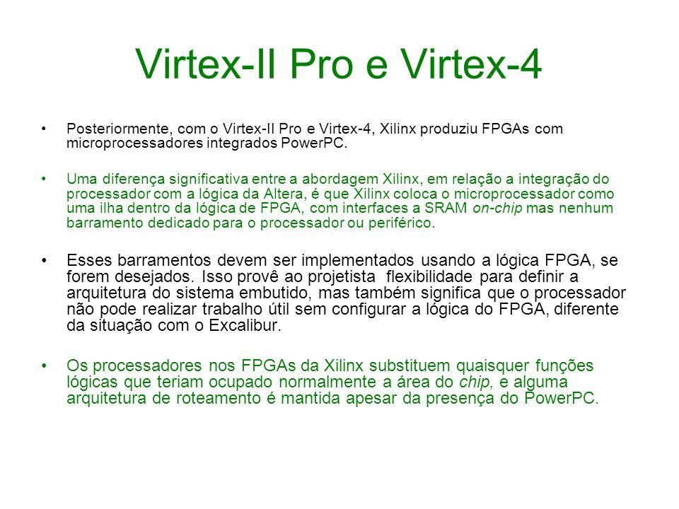 Virtex-II Pro e Virtex-4 Posteriormente, com o Virtex-II Pro e Virtex-4, Xilinx produziu FPGAs com microprocessadores integrados PowerPC. Uma diferenç