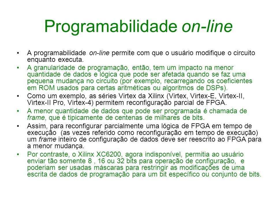 Programabilidade on-line A programabilidade on-line permite com que o usuário modifique o circuito enquanto executa. A granularidade de programação, e