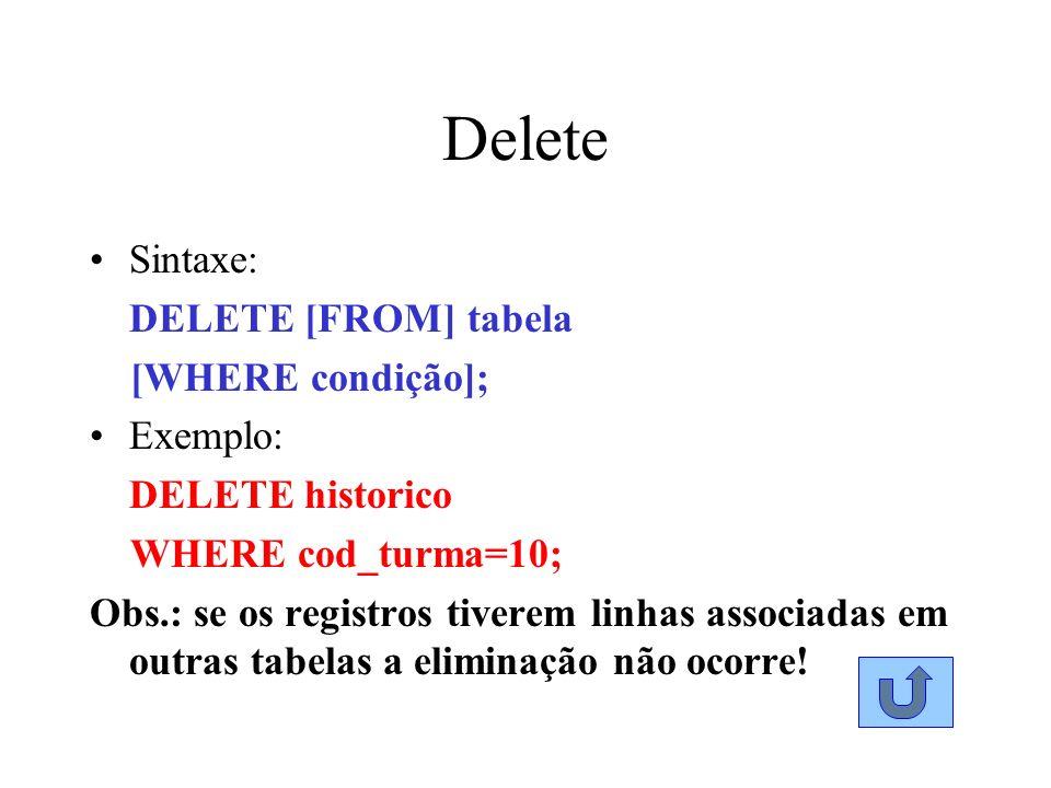 Delete Sintaxe: DELETE [FROM] tabela [WHERE condição]; Exemplo: DELETE historico WHERE cod_turma=10; Obs.: se os registros tiverem linhas associadas e