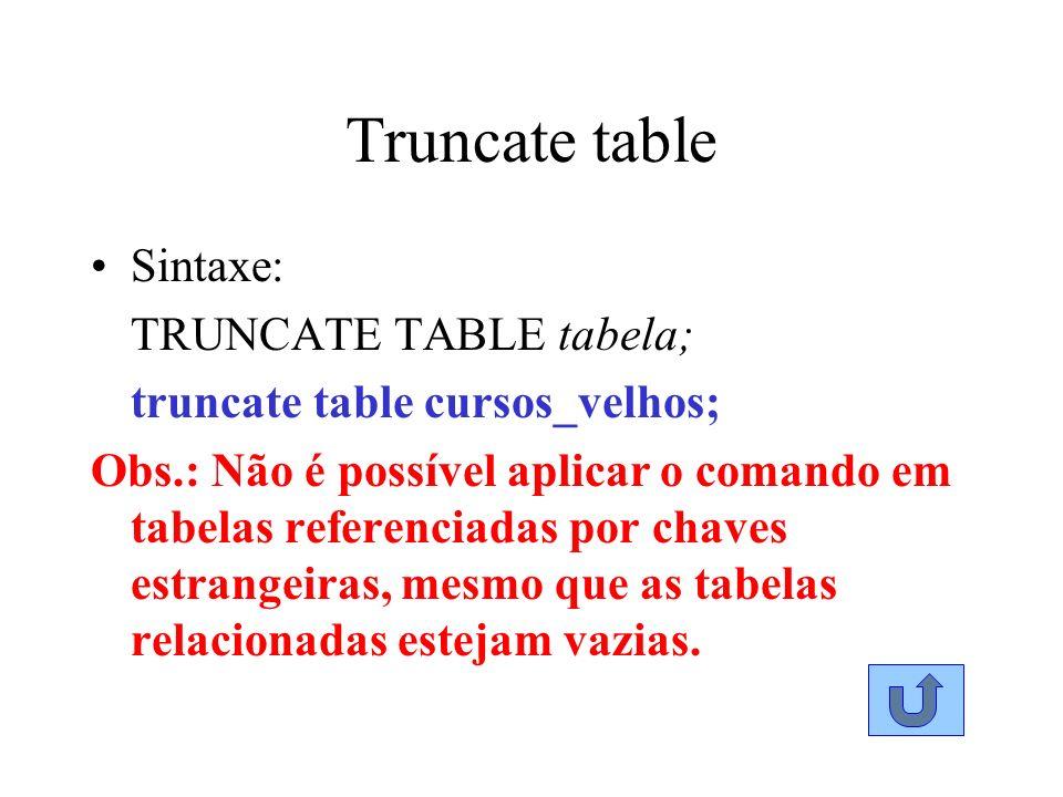 Truncate table Sintaxe: TRUNCATE TABLE tabela; truncate table cursos_velhos; Obs.: Não é possível aplicar o comando em tabelas referenciadas por chave