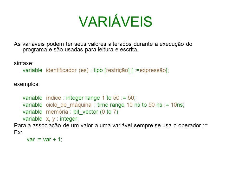 VARIÁVEIS As variáveis podem ter seus valores alterados durante a execução do programa e são usadas para leitura e escrita. sintaxe: variable identifi