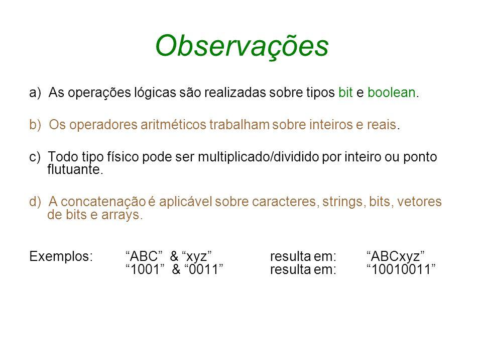 Observações a) As operações lógicas são realizadas sobre tipos bit e boolean. b) Os operadores aritméticos trabalham sobre inteiros e reais. c) Todo t