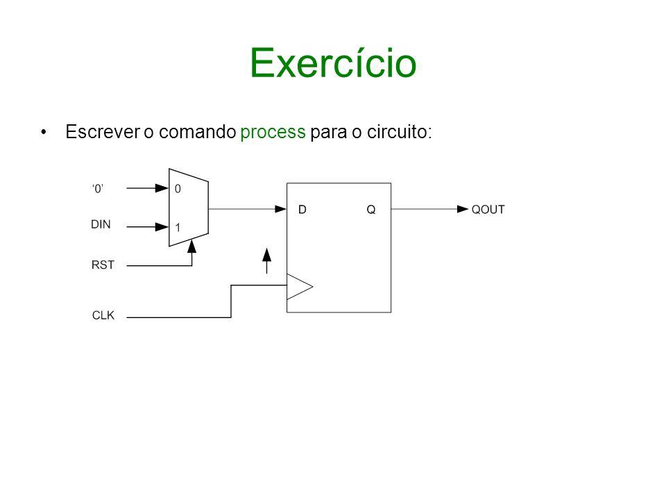 Exercício Escrever o comando process para o circuito: