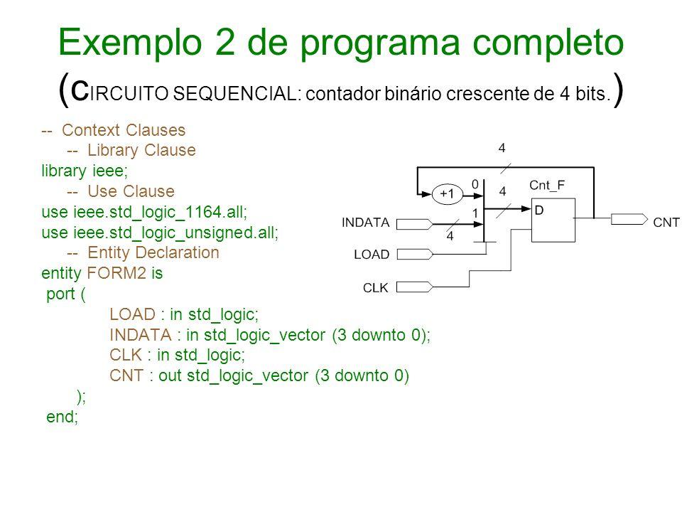 Exemplo 2 de programa completo (c IRCUITO SEQUENCIAL: contador binário crescente de 4 bits. ) -- Context Clauses -- Library Clause library ieee; -- Us