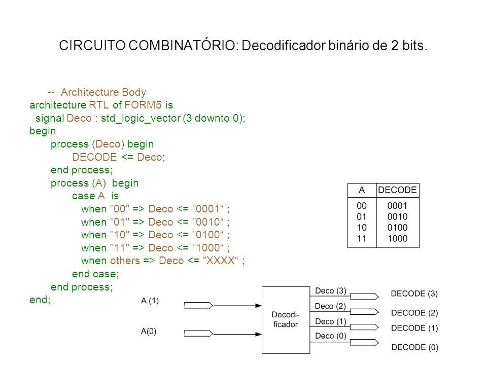 CIRCUITO COMBINATÓRIO: Decodificador binário de 2 bits. -- Architecture Body architecture RTL of FORM5 is signal Deco : std_logic_vector (3 downto 0);