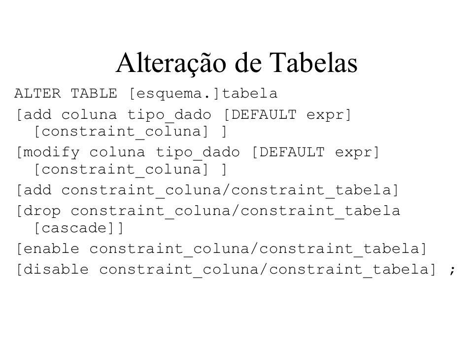 Alteração de Tabelas ALTER TABLE [esquema.]tabela [add coluna tipo_dado [DEFAULT expr] [constraint_coluna] ] [modify coluna tipo_dado [DEFAULT expr] [