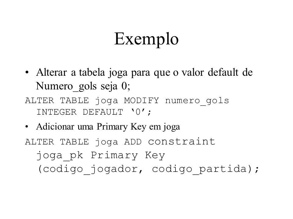 Exemplo Alterar a tabela joga para que o valor default de Numero_gols seja 0; ALTER TABLE joga MODIFY numero_gols INTEGER DEFAULT 0; Adicionar uma Pri