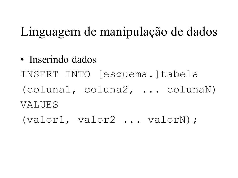 Linguagem de manipulação de dados Inserindo dados INSERT INTO [esquema.]tabela (coluna1, coluna2,... colunaN) VALUES (valor1, valor2... valorN);