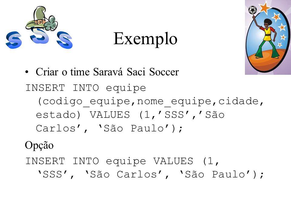 Exemplo Criar o time Saravá Saci Soccer INSERT INTO equipe (codigo_equipe,nome_equipe,cidade, estado) VALUES (1,SSS,São Carlos, São Paulo); Opção INSE