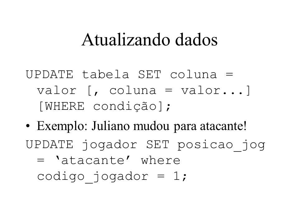Atualizando dados UPDATE tabela SET coluna = valor [, coluna = valor...] [WHERE condição]; Exemplo: Juliano mudou para atacante! UPDATE jogador SET po