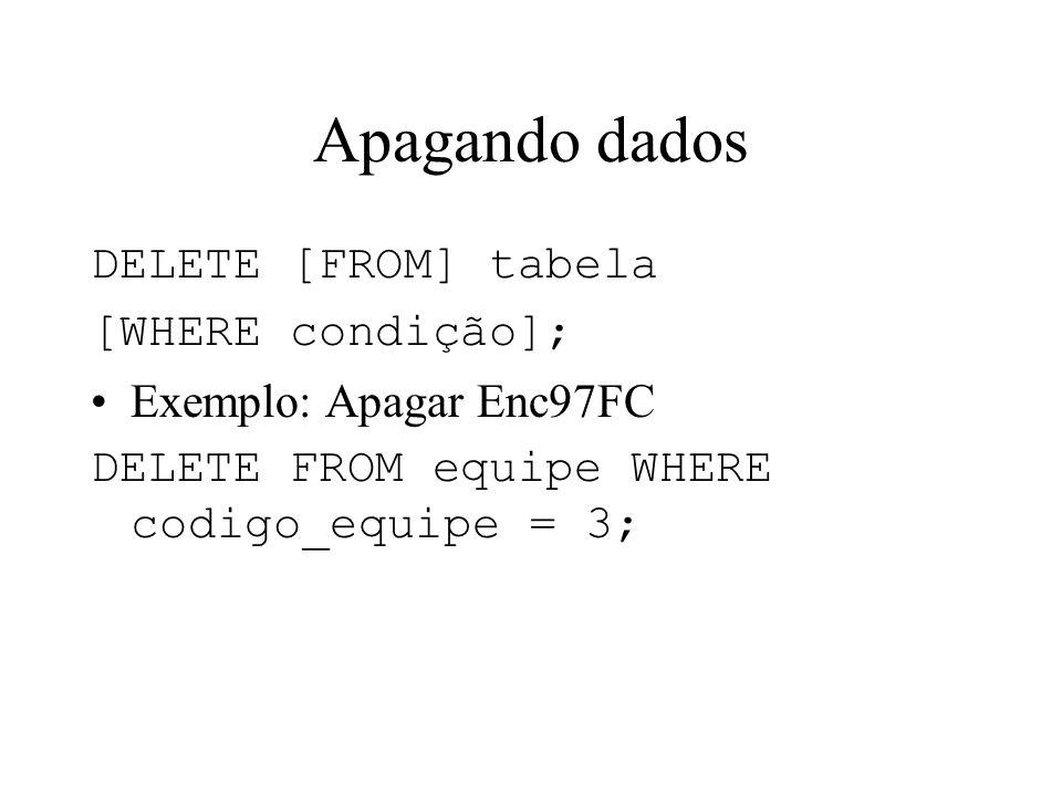 Apagando dados DELETE [FROM] tabela [WHERE condição]; Exemplo: Apagar Enc97FC DELETE FROM equipe WHERE codigo_equipe = 3;