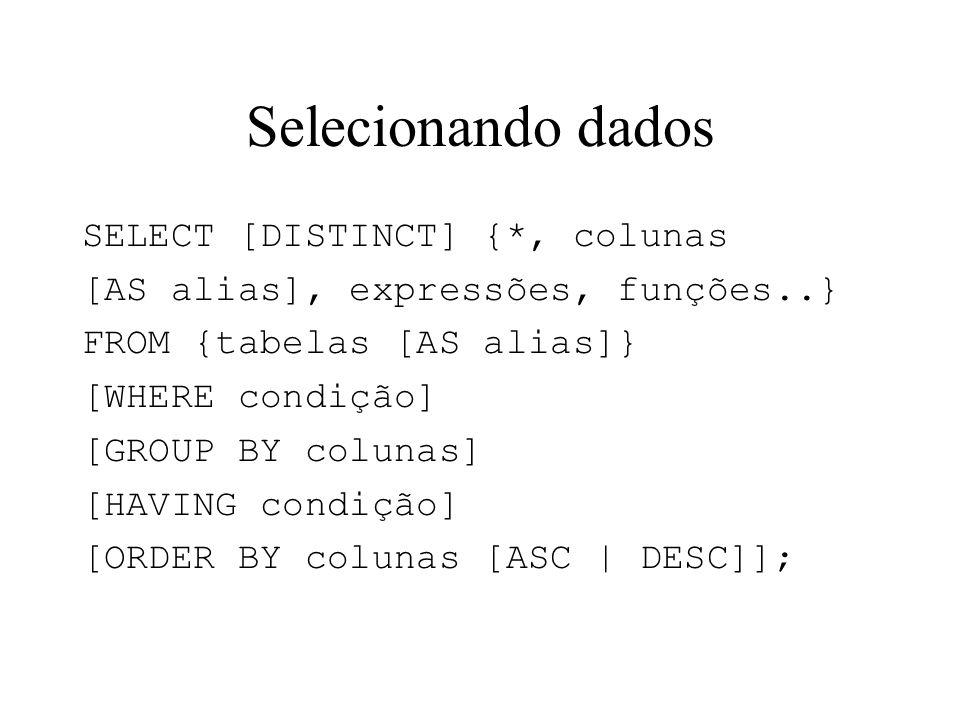 Selecionando dados SELECT [DISTINCT] {*, colunas [AS alias], expressões, funções..} FROM {tabelas [AS alias]} [WHERE condição] [GROUP BY colunas] [HAV