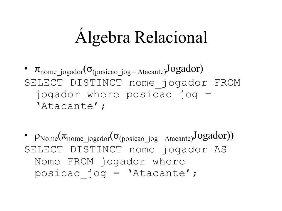 Álgebra Relacional π nome_jogador (σ (posicao_jog = Atacante) Jogador) SELECT DISTINCT nome_jogador FROM jogador where posicao_jog = Atacante; ρ Nome