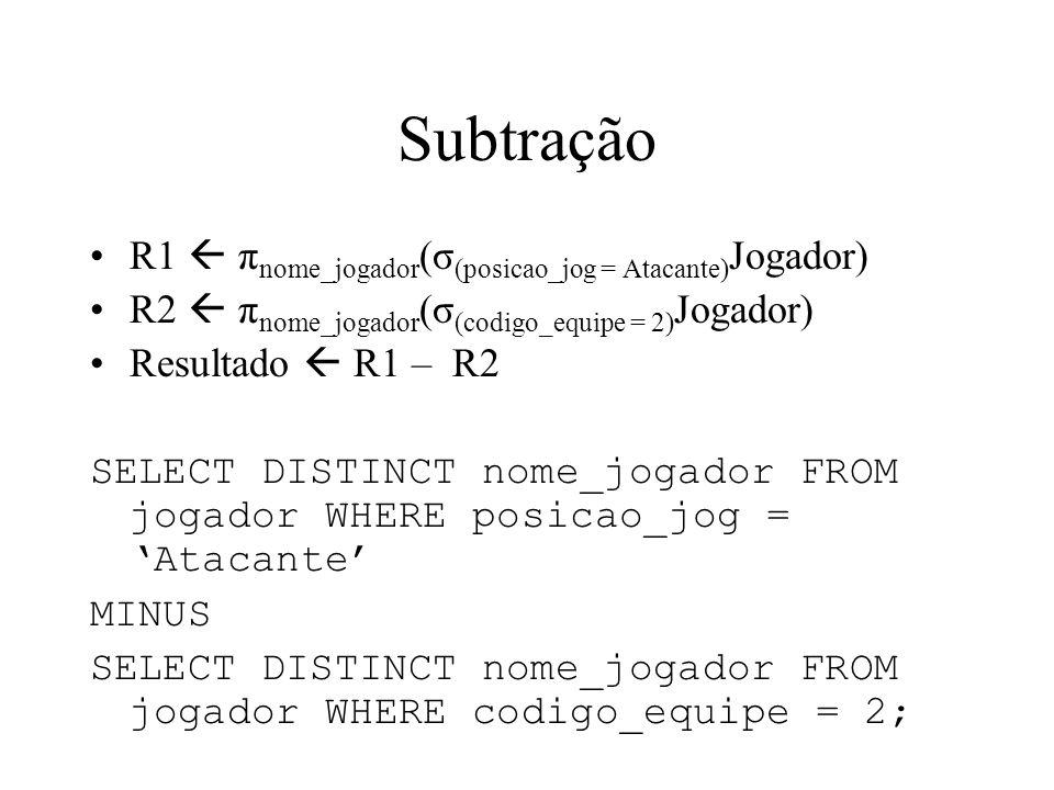 Subtração R1 π nome_jogador (σ (posicao_jog = Atacante) Jogador) R2 π nome_jogador (σ (codigo_equipe = 2) Jogador) Resultado R1 – R2 SELECT DISTINCT n
