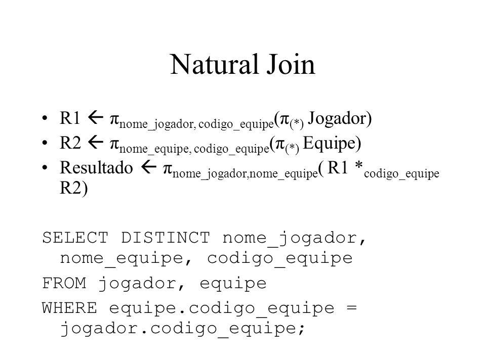 Natural Join R1 π nome_jogador, codigo_equipe (π (*) Jogador) R2 π nome_equipe, codigo_equipe (π (*) Equipe) Resultado π nome_jogador,nome_equipe ( R1