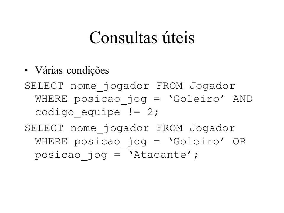 Consultas úteis Várias condições SELECT nome_jogador FROM Jogador WHERE posicao_jog = Goleiro AND codigo_equipe != 2; SELECT nome_jogador FROM Jogador