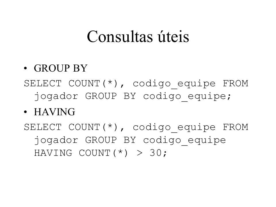Consultas úteis GROUP BY SELECT COUNT(*), codigo_equipe FROM jogador GROUP BY codigo_equipe; HAVING SELECT COUNT(*), codigo_equipe FROM jogador GROUP