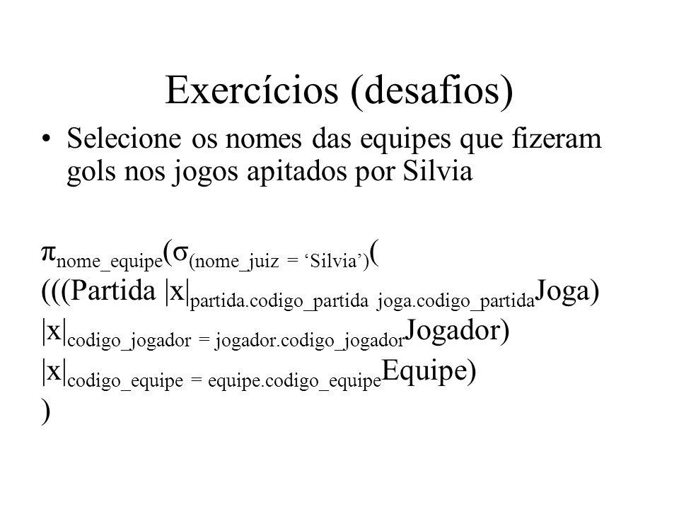 Exercícios (desafios) Selecione os nomes das equipes que fizeram gols nos jogos apitados por Silvia π nome_equipe (σ (nome_juiz = Silvia) ( (((Partida