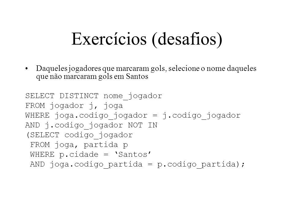 Exercícios (desafios) Daqueles jogadores que marcaram gols, selecione o nome daqueles que não marcaram gols em Santos SELECT DISTINCT nome_jogador FRO