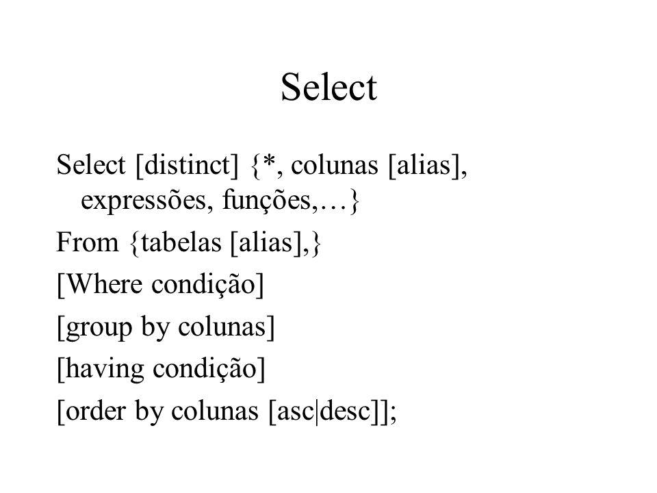 Select Select [distinct] {*, colunas [alias], expressões, funções,…} From {tabelas [alias],} [Where condição] [group by colunas] [having condição] [or