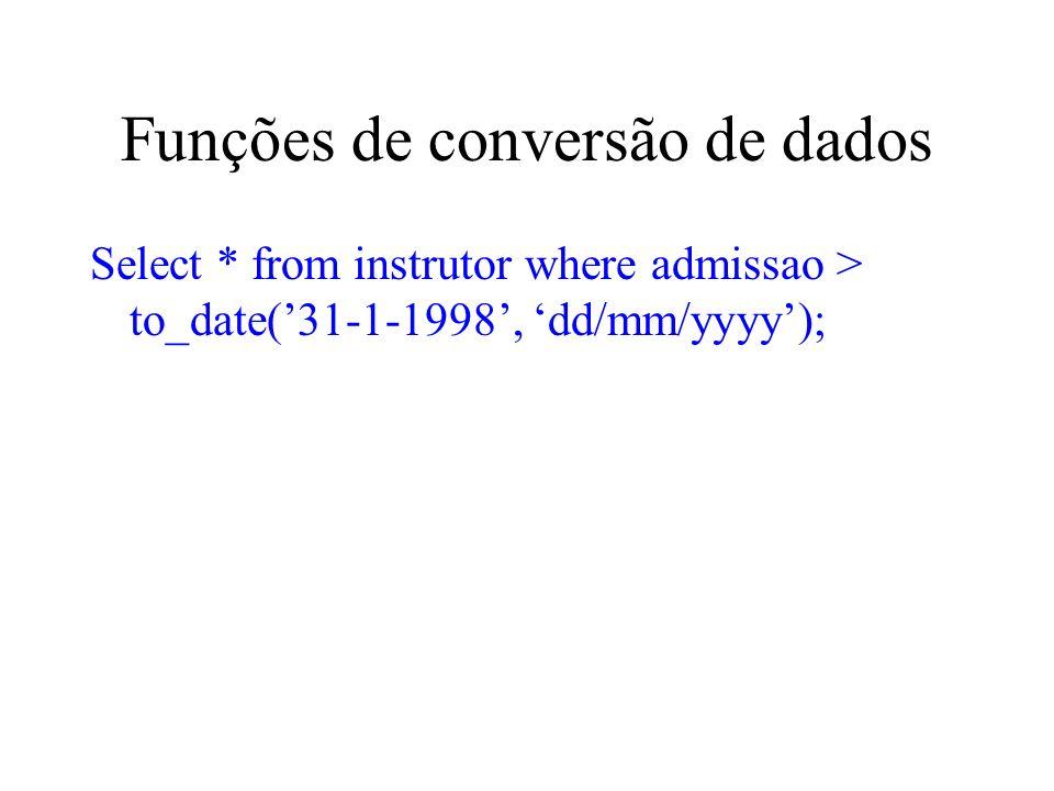 Funções de conversão de dados Select * from instrutor where admissao > to_date(31-1-1998, dd/mm/yyyy);