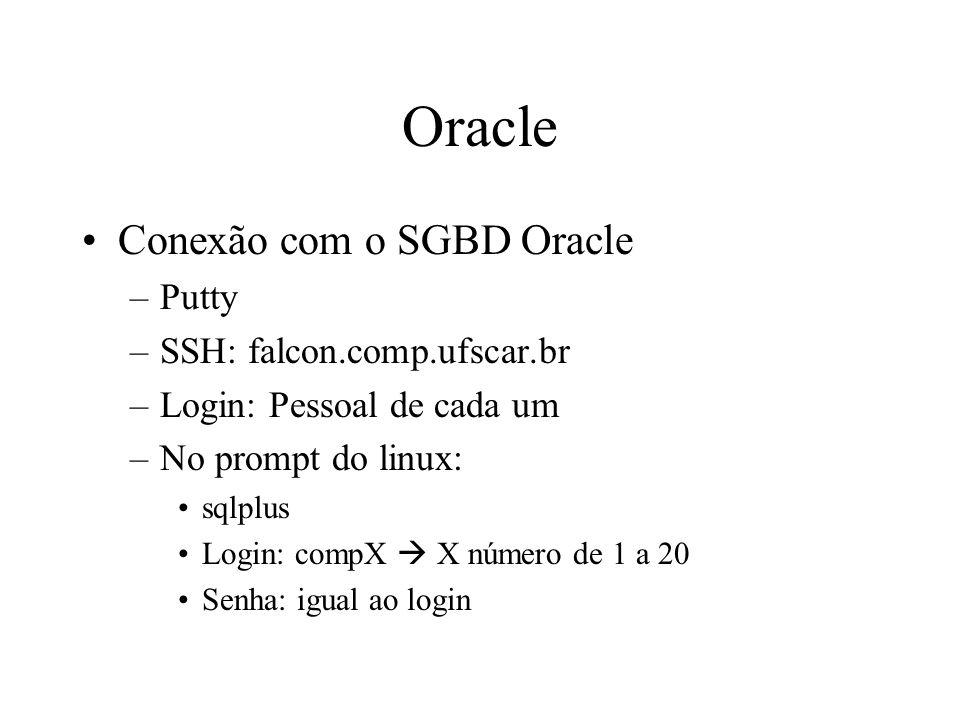 Oracle Conexão com o SGBD Oracle –Putty –SSH: falcon.comp.ufscar.br –Login: Pessoal de cada um –No prompt do linux: sqlplus Login: compX X número de 1