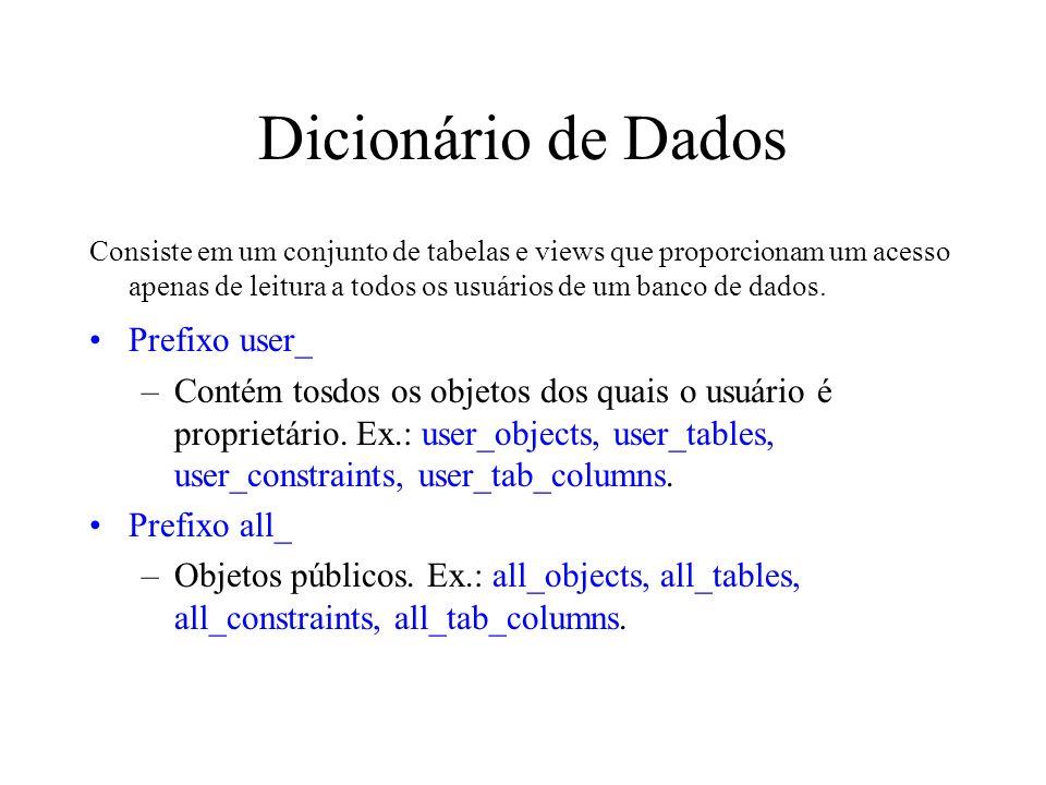 Dicionário de Dados Consiste em um conjunto de tabelas e views que proporcionam um acesso apenas de leitura a todos os usuários de um banco de dados.