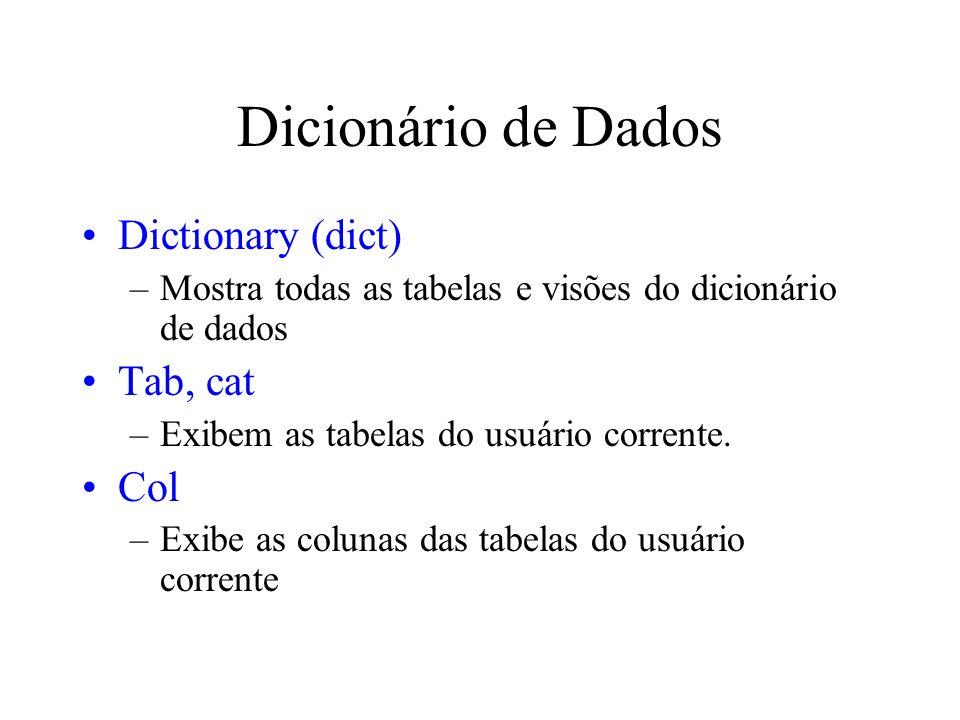 Dicionário de Dados Dictionary (dict) –Mostra todas as tabelas e visões do dicionário de dados Tab, cat –Exibem as tabelas do usuário corrente. Col –E
