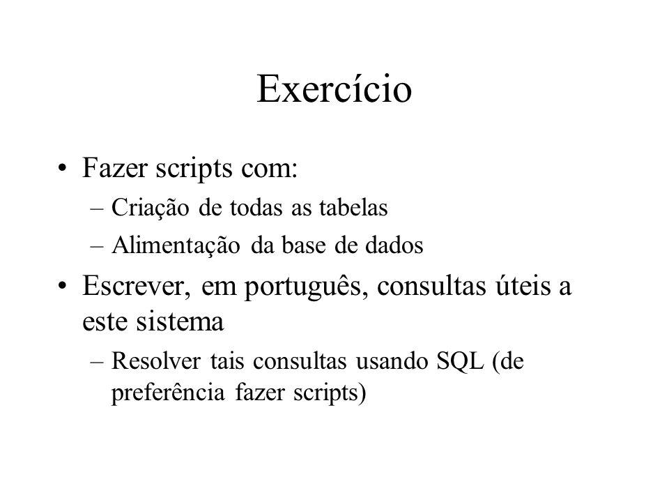 Exercício Fazer scripts com: –Criação de todas as tabelas –Alimentação da base de dados Escrever, em português, consultas úteis a este sistema –Resolv