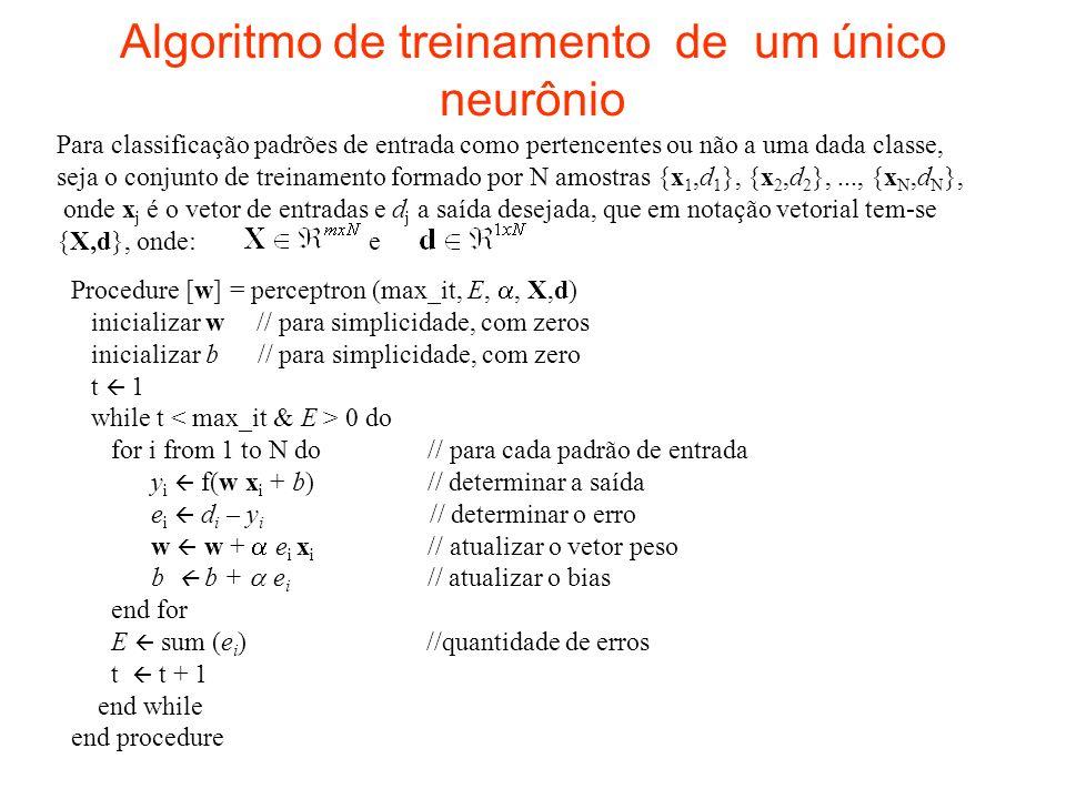 Algoritmo de treinamento de um único neurônio Para classificação padrões de entrada como pertencentes ou não a uma dada classe, seja o conjunto de tre