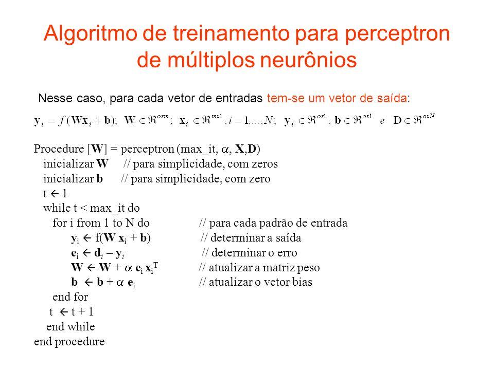 Algoritmo de treinamento para perceptron de múltiplos neurônios Procedure [W] = perceptron (max_it,, X,D) inicializar W // para simplicidade, com zero