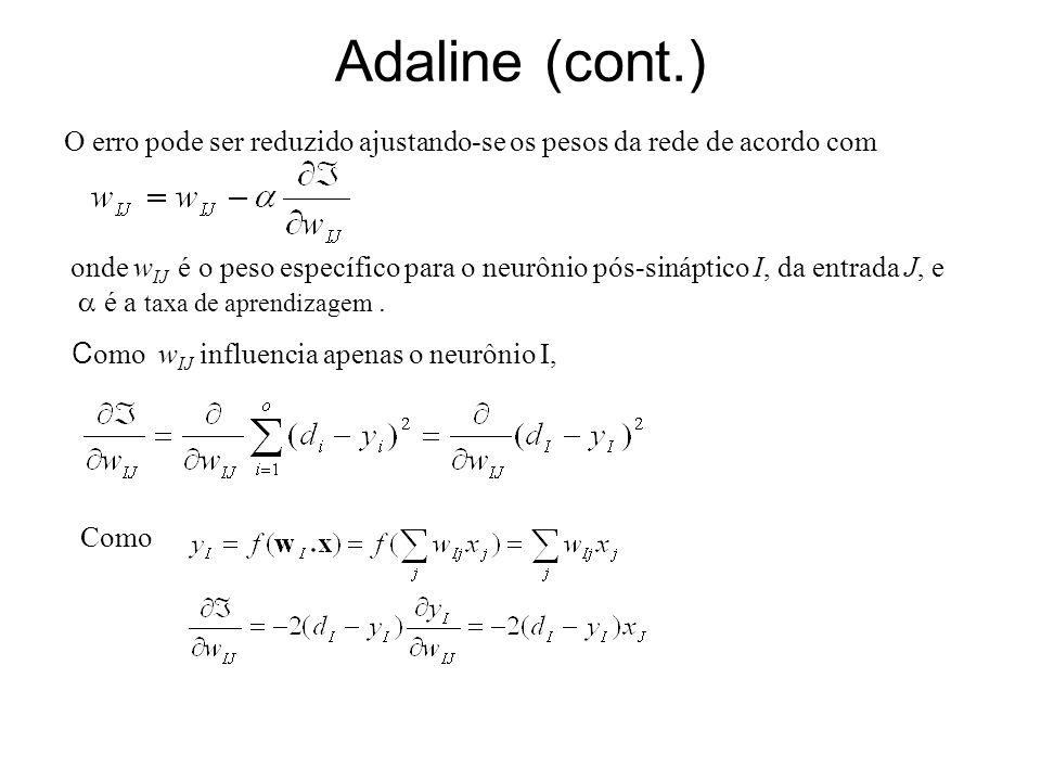 Adaline (cont.) O erro pode ser reduzido ajustando-se os pesos da rede de acordo com onde w IJ é o peso específico para o neurônio pós-sináptico I, da