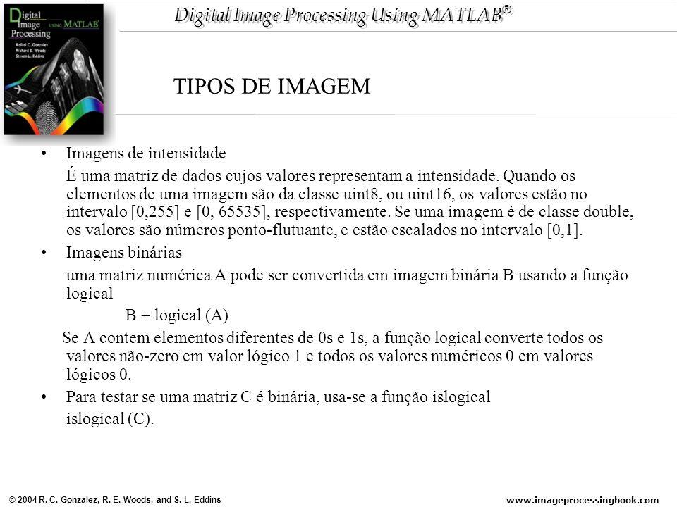 www.imageprocessingbook.com © 2004 R. C. Gonzalez, R. E. Woods, and S. L. Eddins Digital Image Processing Using MATLAB ® Imagens de intensidade É uma