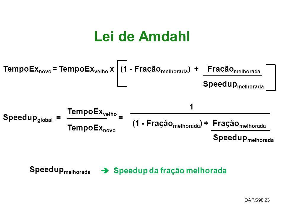 DAP.S98 23 Lei de Amdahl TempoEx novo = TempoEx velho x (1 - Fração melhorada ) + Fração melhorada Speedup global = TempoEx velho TempoEx novo Speedup