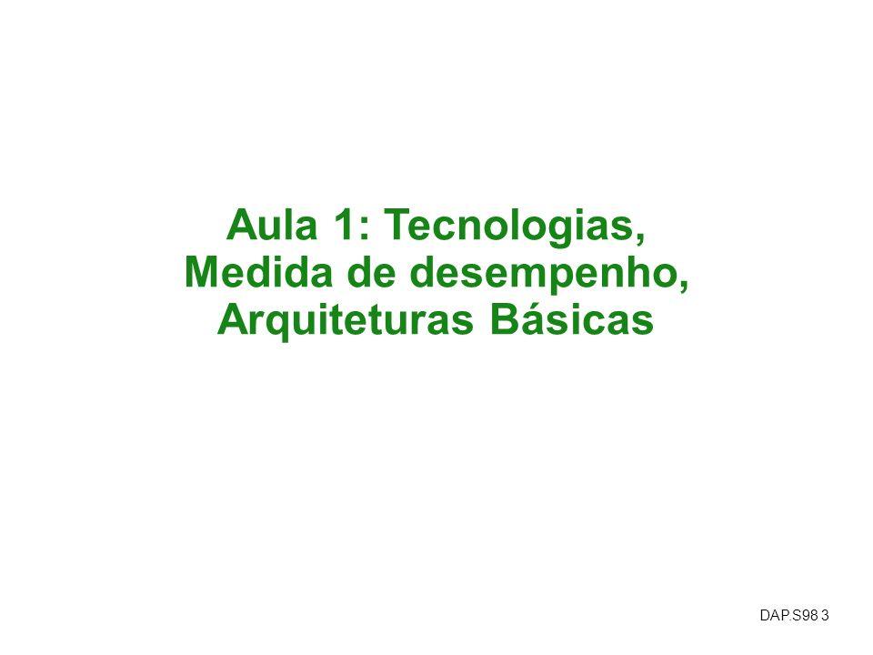 DAP.S98 3 Aula 1: Tecnologias, Medida de desempenho, Arquiteturas Básicas
