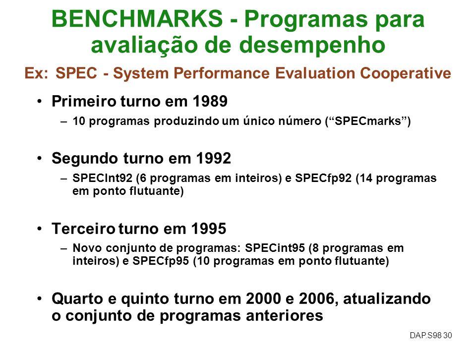 DAP.S98 30 BENCHMARKS - Programas para avaliação de desempenho Ex: SPEC - System Performance Evaluation Cooperative Primeiro turno em 1989 –10 program