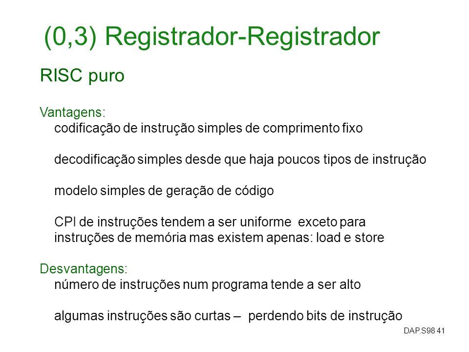 DAP.S98 41 RISC puro Vantagens: codificação de instrução simples de comprimento fixo decodificação simples desde que haja poucos tipos de instrução mo