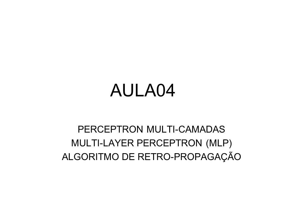 INTRODUÇÃO O perceptron de múltiplas camadas (Multi-Layer Perceptron – MLP) é uma rede do tipo perceptron com pelo menos uma camada intermediária.