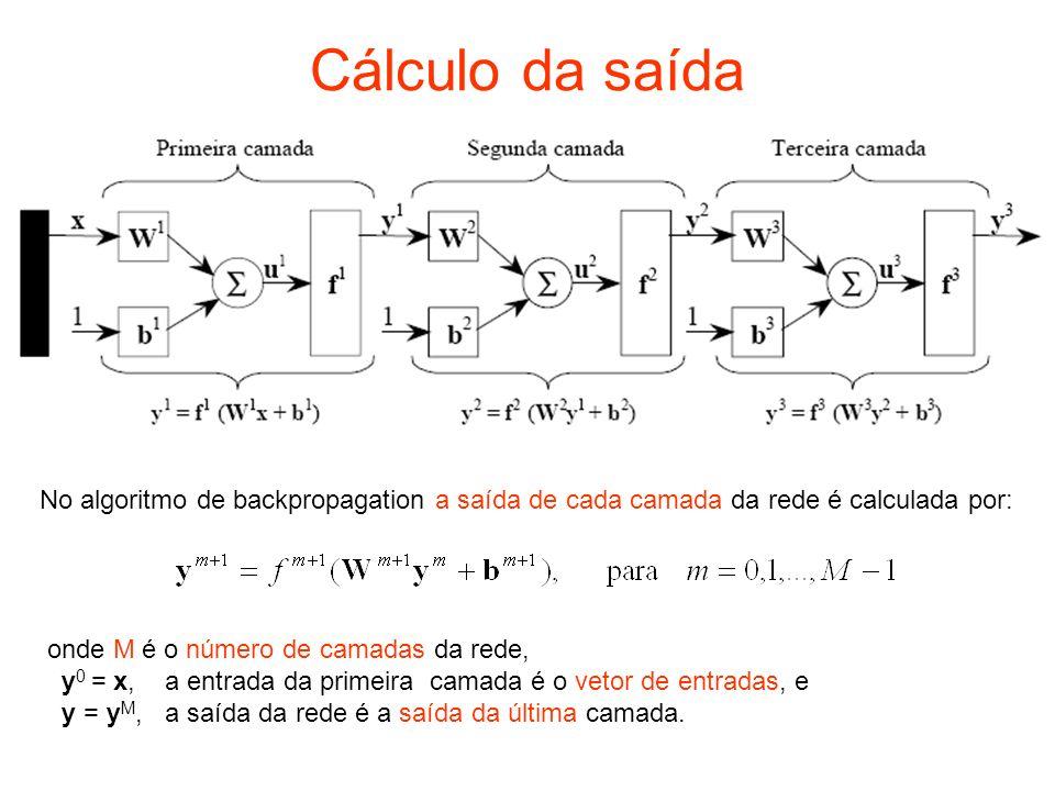 Cálculo da retropropagação do erro Para o cálculo do gradiente, como o erro é função indireta dos pesos nas camadas escondidas, deve ser usada a regra de cadeia: O segundo termo das equações pode ser calculado considerando que a entrada líquida (soma ponderada dos pesos) da camada m é função dos pesos e bias (S m é a quantidade de neurônios na camada m): Entrada líquida