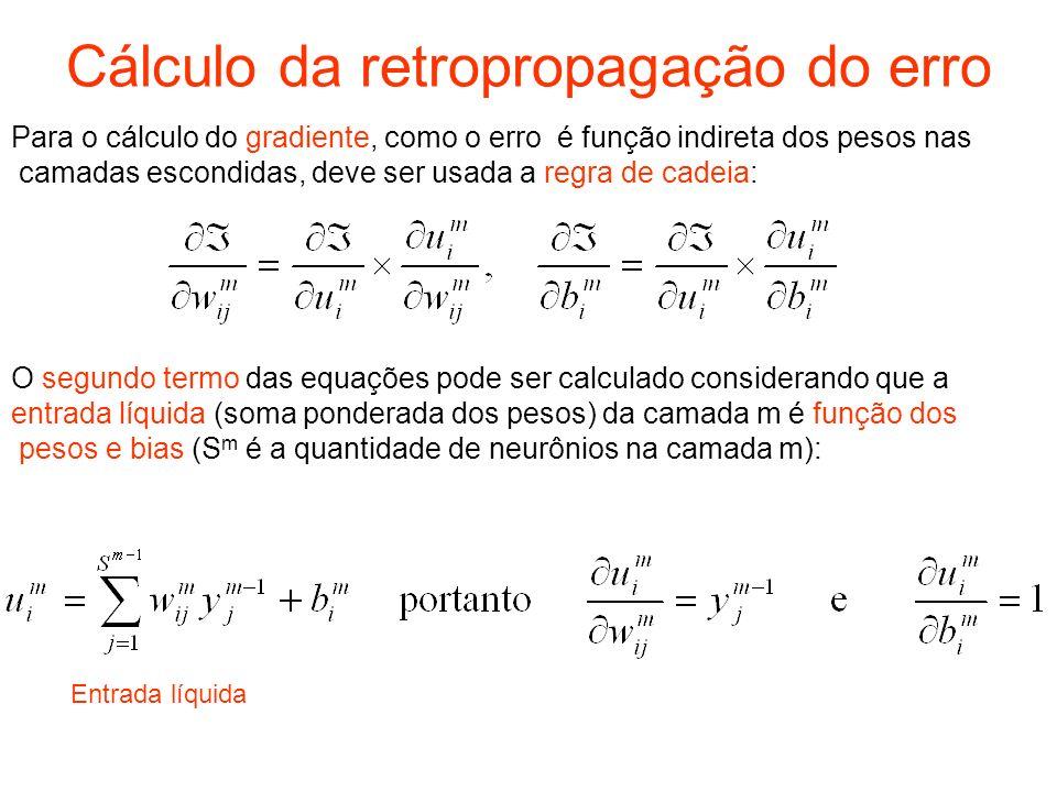 Procedimento de Nguyen-Widrow O procedimento consiste dos seguintes passos: –Para cada neurônio da camada escondida (j = 1,...,p): Inicializa-se o vetor peso dos neurônios da camada escondida: w ji (0) = número randômico entre -0.5 e 0.5 Computa-se a norma euclidiana Reinicializa-se os pesos –Inicializa-se os bias: b j = número randômico entre – e.