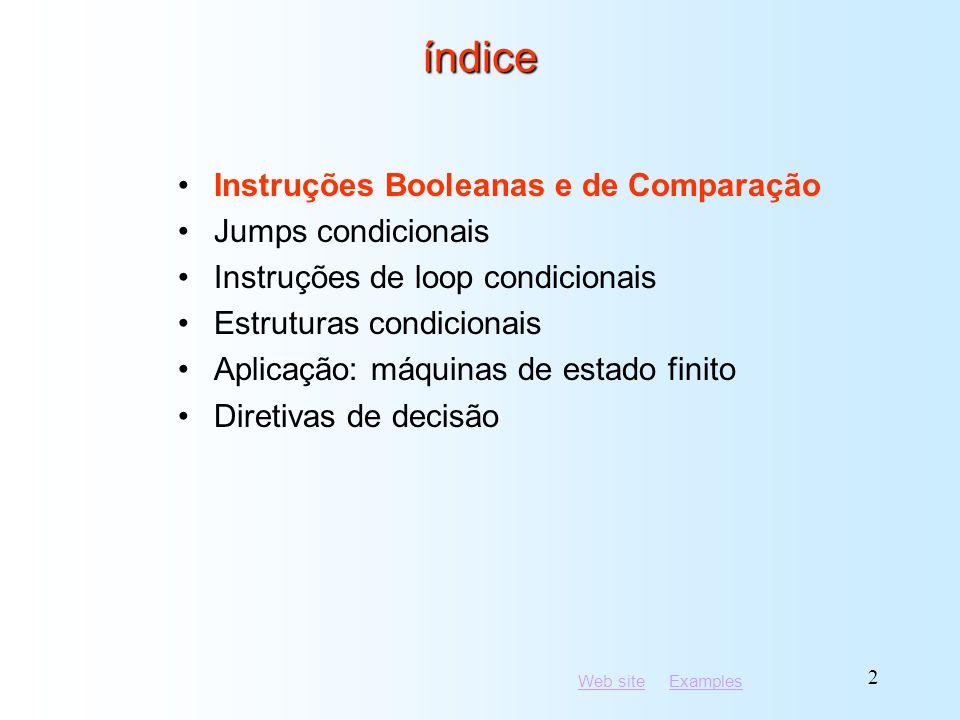 Web siteWeb site ExamplesExamples 13 Aplicações (5 de 5) or al,al jnz IsNotZero; jump if not zero Tarefa: salta para um label se o valor em AL não é zero.