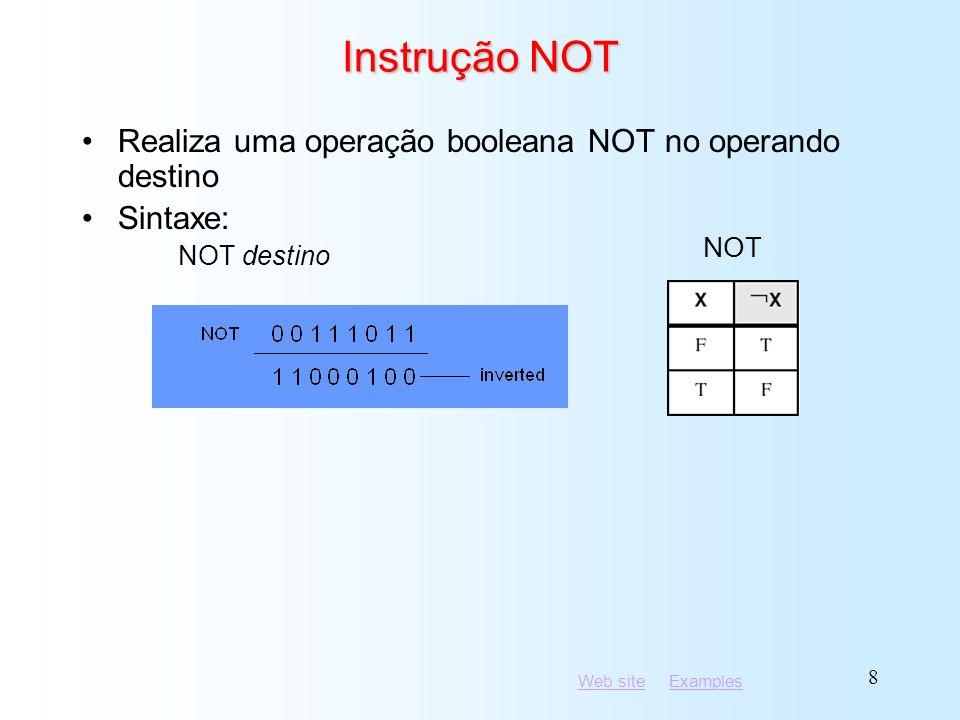 Web siteWeb site ExamplesExamples 9 Aplicações (1 de 5) mov al, a ; AL = 01100001b and al,11011111b; AL = 01000001b Tarefa: Converter o caractere em AL em maiúsculo.