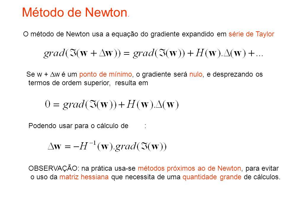 Podendo usar para o cálculo de : Método de Newton. OBSERVAÇÃO: na prática usa-se métodos próximos ao de Newton, para evitar o uso da matriz hessiana q