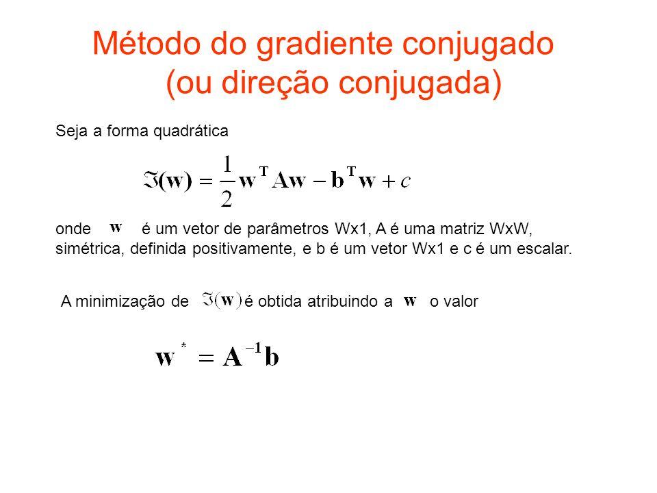 Método do gradiente conjugado (ou direção conjugada) Seja a forma quadrática onde é um vetor de parâmetros Wx1, A é uma matriz WxW, simétrica, definid