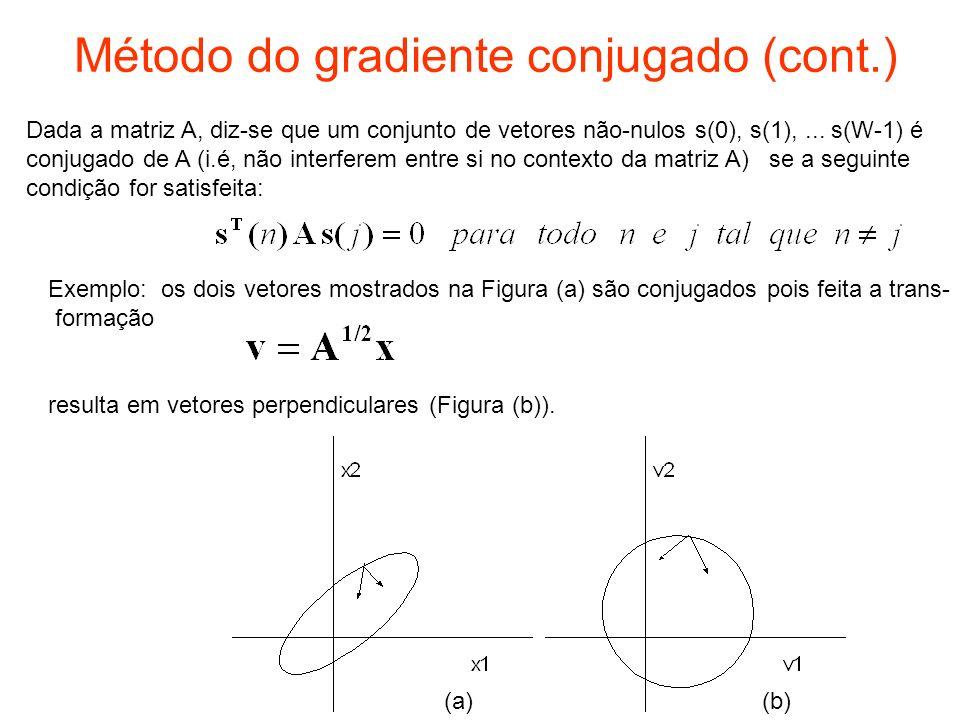 Método do gradiente conjugado (cont.) Dada a matriz A, diz-se que um conjunto de vetores não-nulos s(0), s(1),... s(W-1) é conjugado de A (i.é, não in