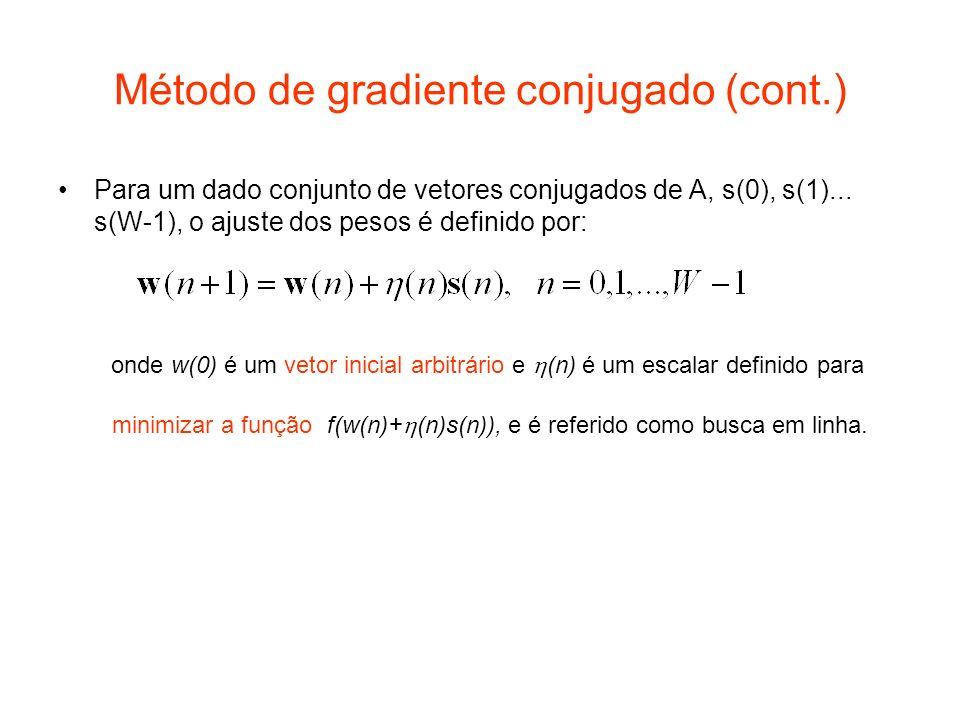 Método de gradiente conjugado (cont.) Para um dado conjunto de vetores conjugados de A, s(0), s(1)... s(W-1), o ajuste dos pesos é definido por: onde