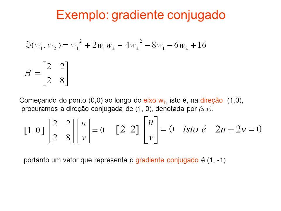 Exemplo: gradiente conjugado Começando do ponto (0,0) ao longo do eixo w 1, isto é, na direção (1,0), procuramos a direção conjugada de (1, 0), denota